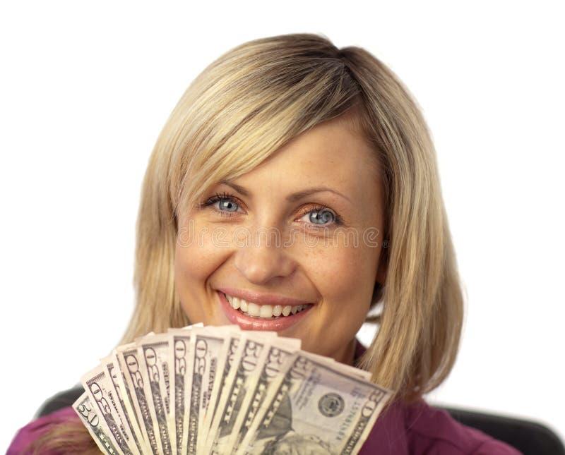 dollar lycklig holdingkvinna royaltyfri foto