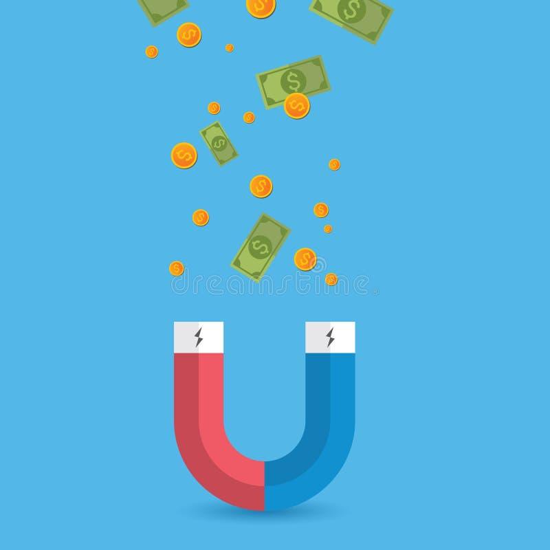 Dollar magnet Abstrakt magnet av framgång, begrepp för framgång, vektor royaltyfri illustrationer