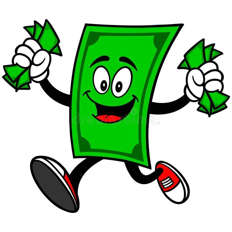 Dollar-Maskottchen mit Geld lizenzfreie abbildung