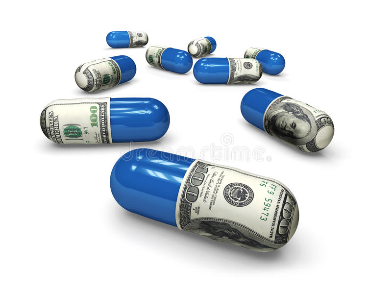 Dollar medicine capsules f1s. Dollar medicine capsules with blue halves stock illustration