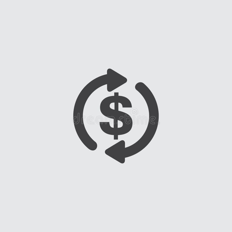 Dollar met pijlenpictogram in een vlak ontwerp in zwarte kleur Vector illustratie EPS10 royalty-vrije illustratie