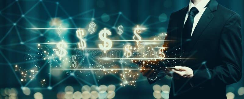Dollar mit dem Geschäftsmann, der eine Tablette hält vektor abbildung