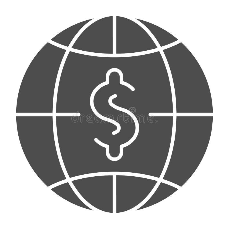 Dollar mit fester Ikone der Kugel Weltgeld-Vektorillustration lokalisiert auf Weiß Globalbudget Glyph-Artentwurf vektor abbildung