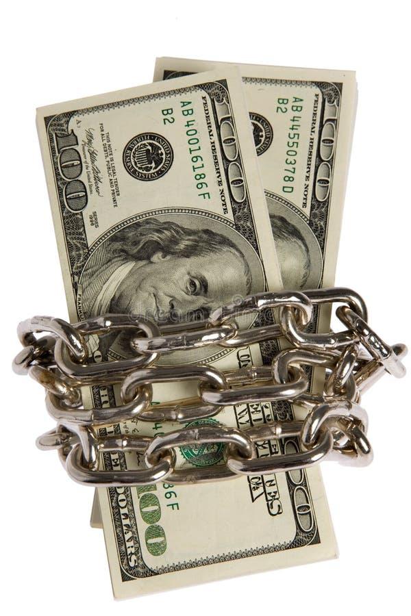 Dollar mit Kette auf Weiß lizenzfreie stockbilder