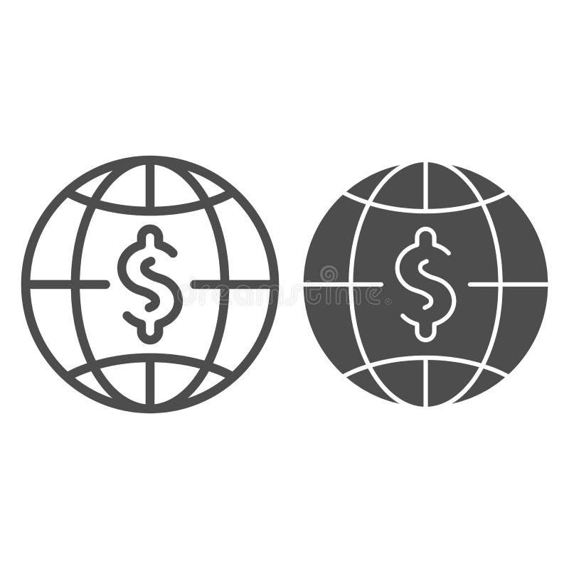 Dollar mit Kugellinie und Glyphikone Weltgeld-Vektorillustration lokalisiert auf Weiß Globalbudgetentwurfsart stock abbildung