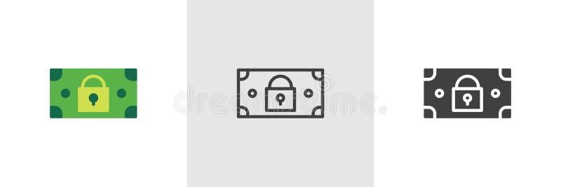Dollar money bill with padlock icon royalty free illustration