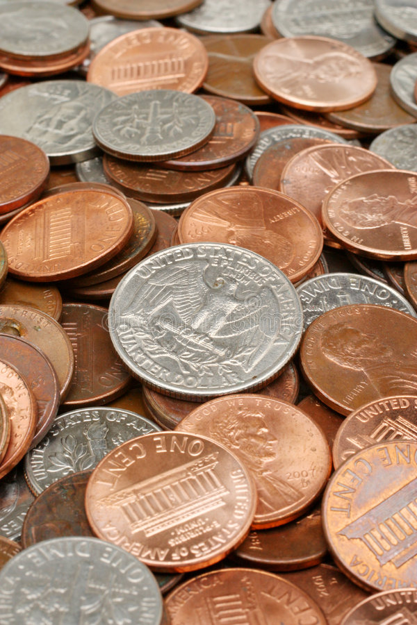 Dollar money coins background. American dollar money coins assortment closeup background. Business & Finance Collection stock photography