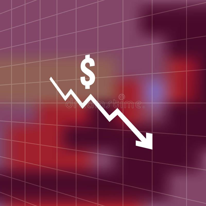 Dollar money fall down icon symbol with blur background. arrow decrease economy stretching rising drop. Business lost crisis decre. Ase. cost reduction bankrupt stock illustration