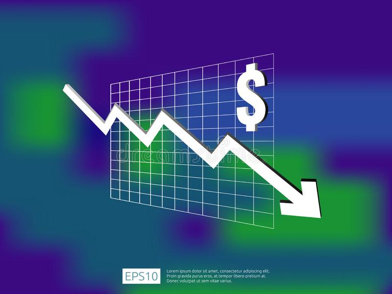 Dollar money fall down symbol with blur background. arrow decrease economy stretching rising drop. Business loss crisis decrease i. Llustration. cost reduction stock illustration