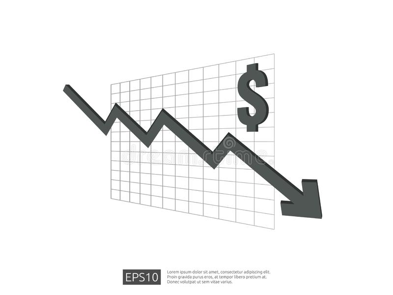 Dollar money fall down symbol with white background. arrow decrease economy stretching rising drop. Business loss crisis decrease. Illustration. cost reduction royalty free illustration