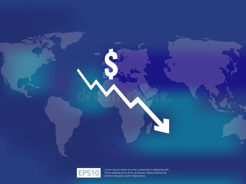Dollar money fall down symbol with world map and blur background. arrow decrease economy stretching rising drop. Business loss cri. Sis decrease illustration stock illustration