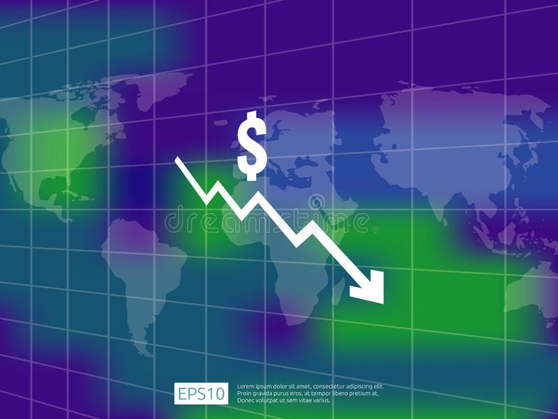 Dollar money fall down symbol with world map and blur background. arrow decrease economy stretching rising drop. Business loss cri. Sis decrease illustration vector illustration