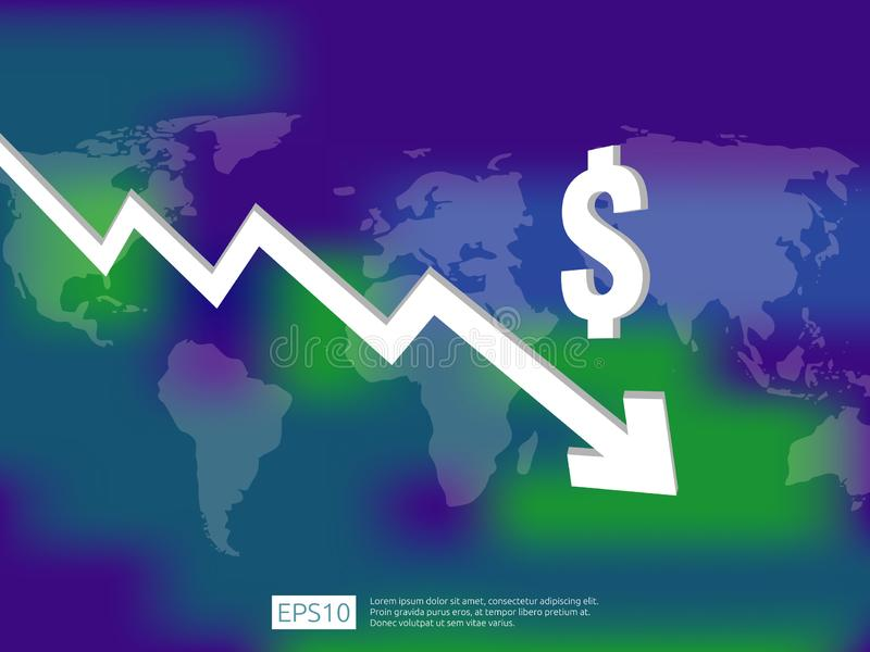 Dollar money fall down symbol with world map and blur background. arrow decrease economy stretching rising drop. Business loss cri. Sis decrease illustration royalty free illustration