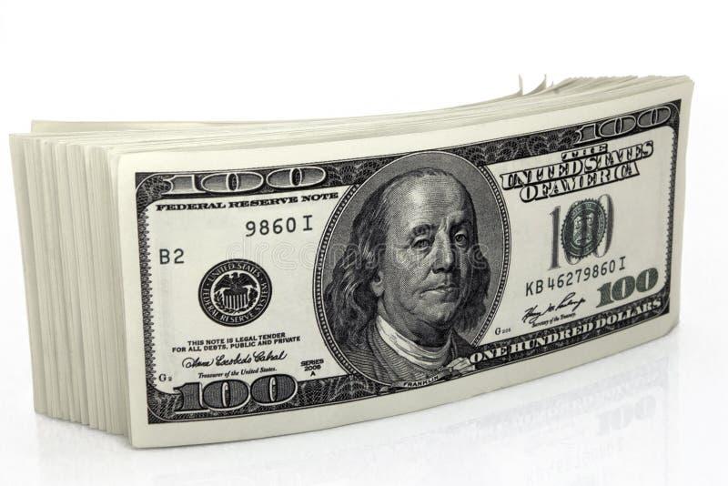 Dollar Nahaufnahme-Konzept- Amerikanische Dollar Bargeld- Hundert Dollarbanknoten stockfotografie