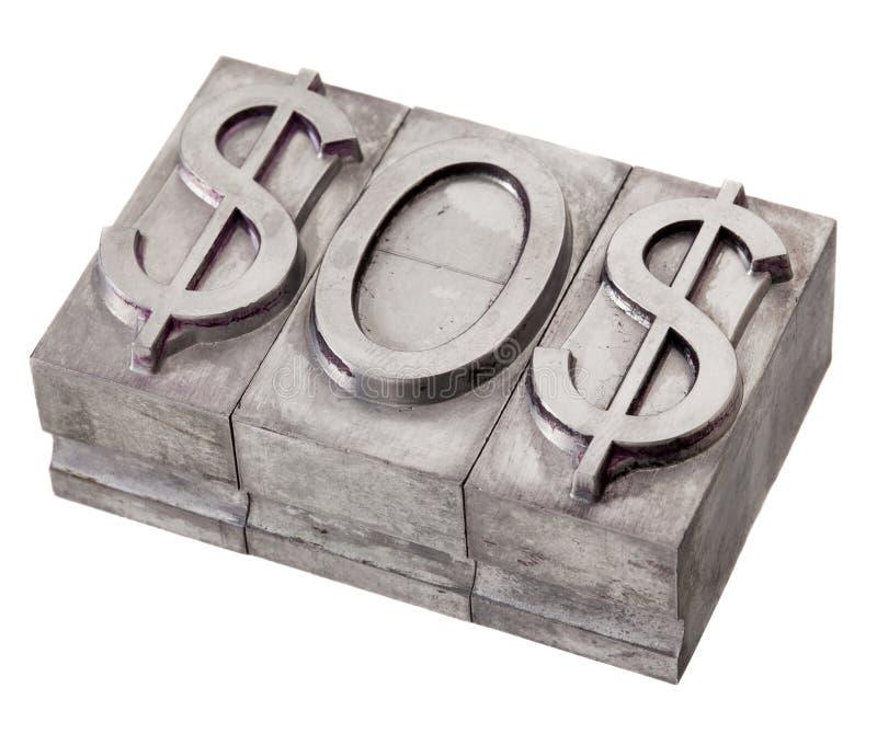 Dollar in nood - het signaal van het S.O.S. stock fotografie