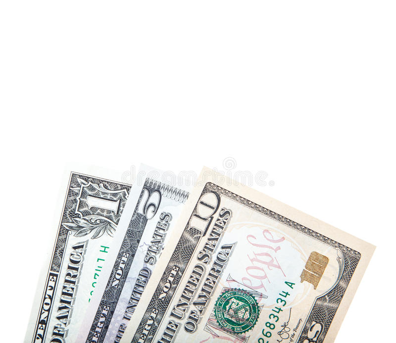 Dollar notes. All on white background stock photography