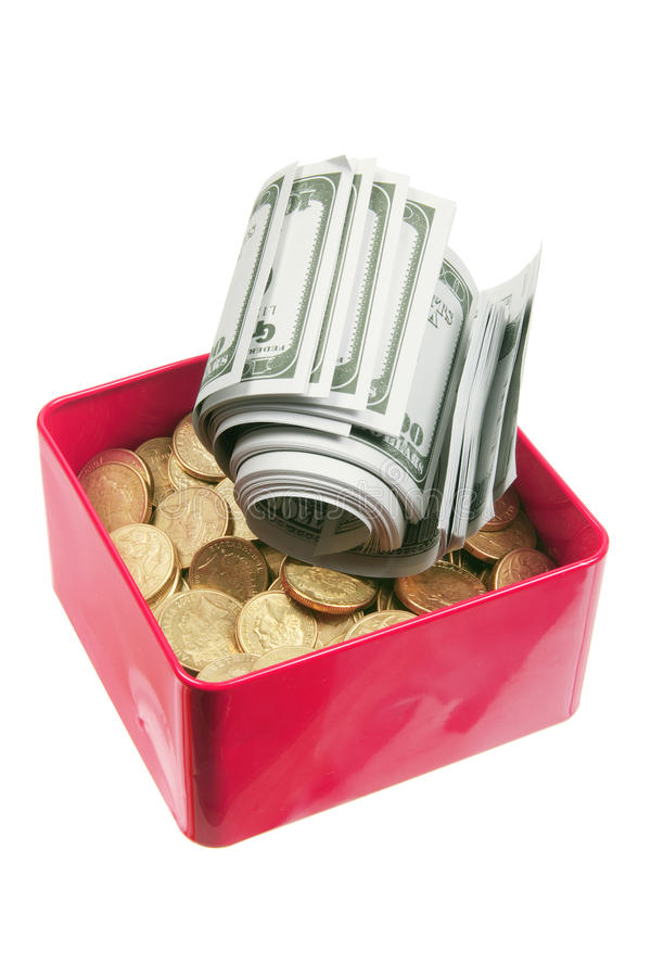 Dollar Notes And Coins In Box Royalty Free Stock Photo