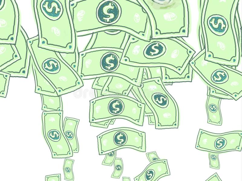 Dollar Notes Falling Drawing. Illustration graphics showing a drawing of American US dollar notes or bills falling down on white background stock illustration