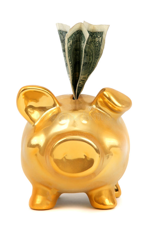 Dollar Notes And Golden Piggy Bank Stock Photography