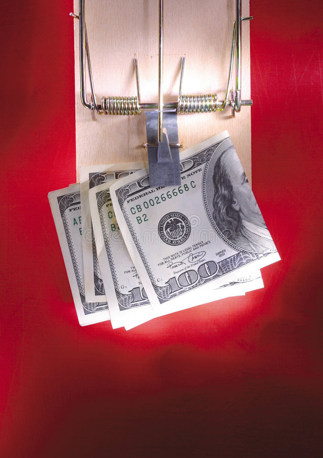Download Dollar Notes In A Mouse Trap Stock Photo - Image: 2705356