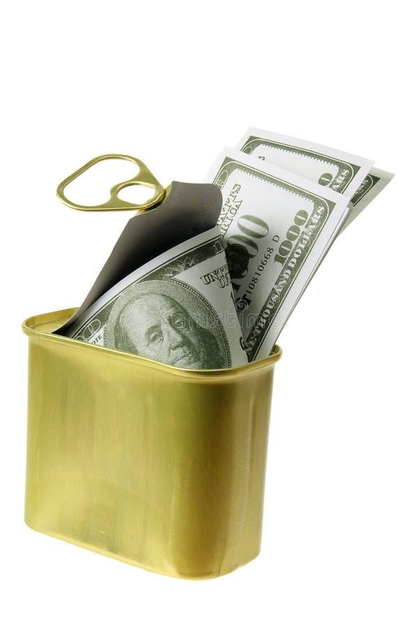 Dollar Notes in Tin Can stock photos