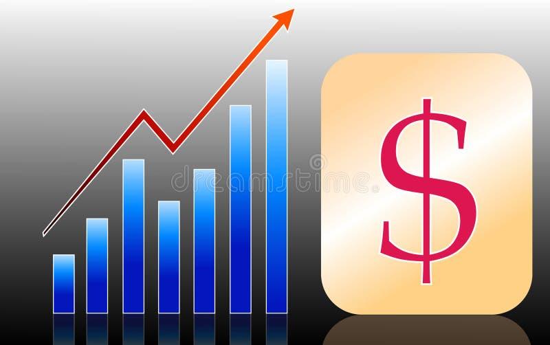 Dollar- och affärstillväxt stock illustrationer
