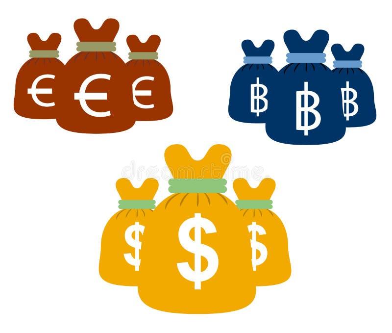 Dollar och bad för euro för design för vektor för pengarpåsar fastställda royaltyfri illustrationer