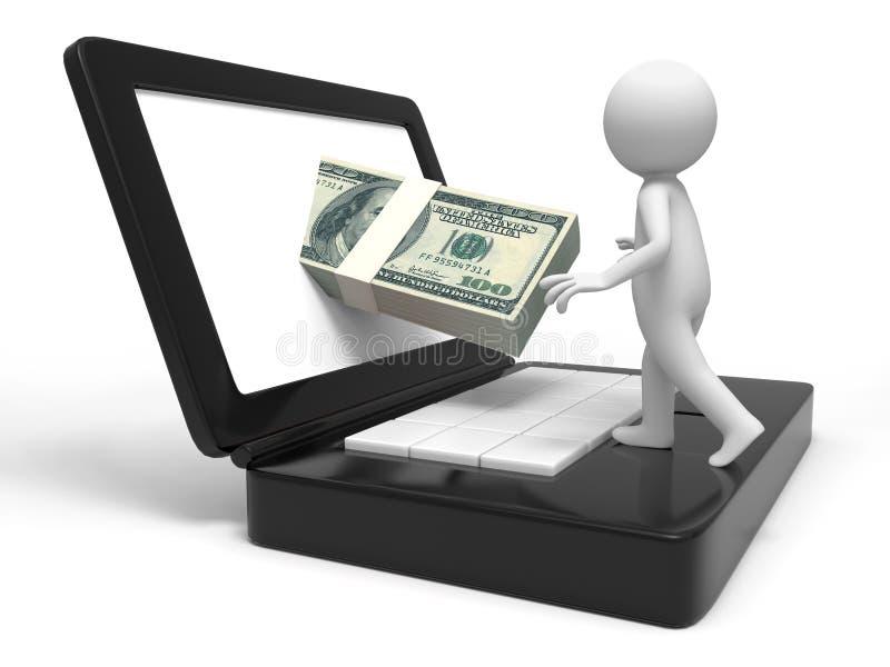 Dollar och dator royaltyfri illustrationer