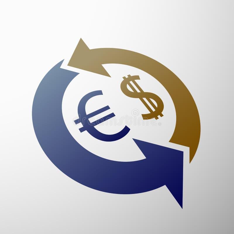 Dollar och euro vektor illustrationer