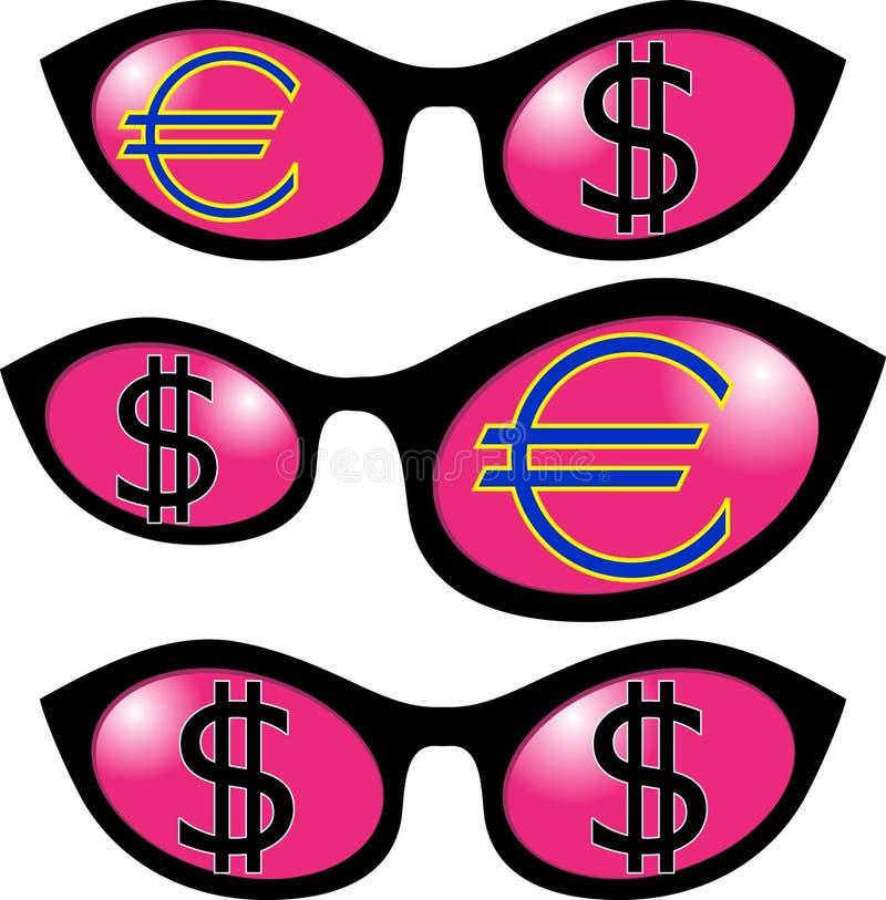 Dollar och euro i exponeringsglas vektor illustrationer