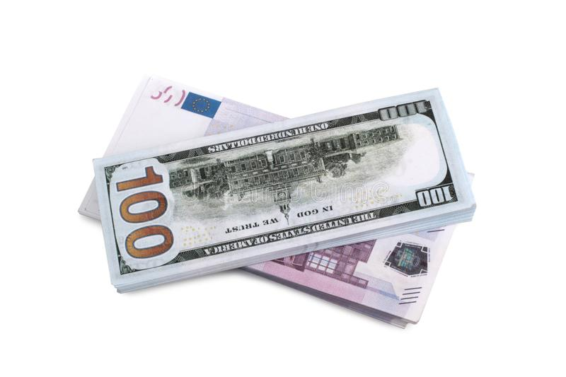 Dollar och euro sju arkivbild