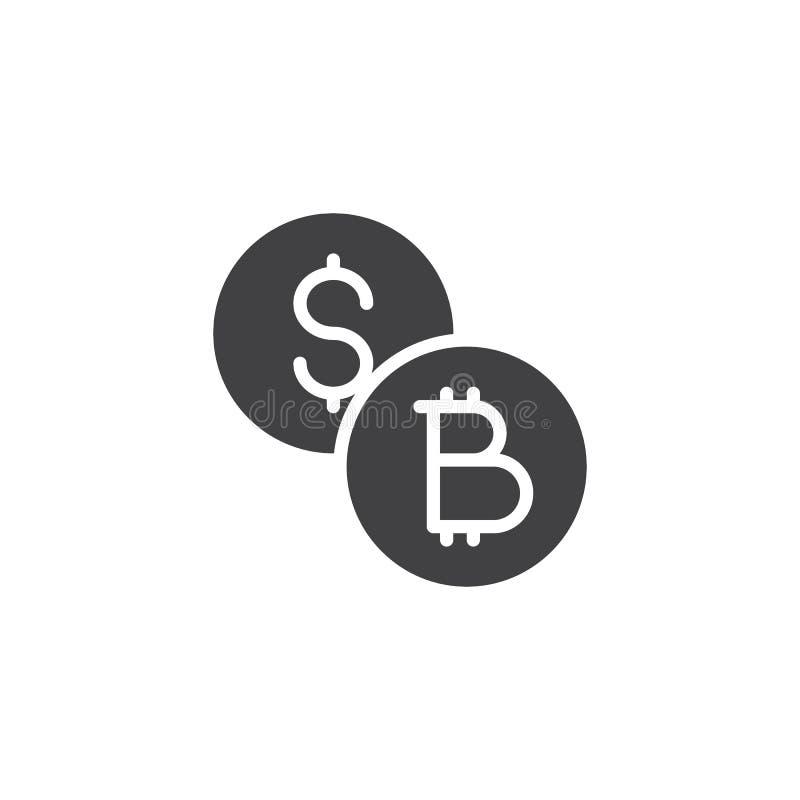 Dollar- och för bitcoinmyntvektor symbol royaltyfri illustrationer