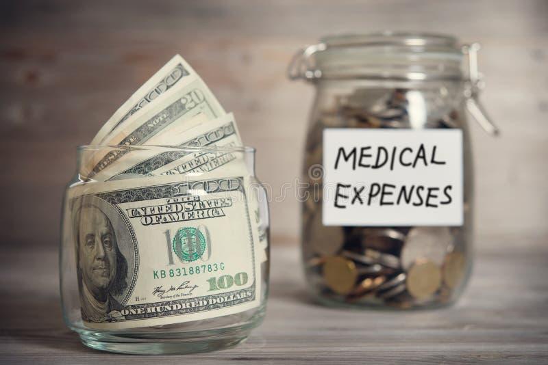Dollar och mynt i krus med etiketten för medicinska kostnader royaltyfri foto