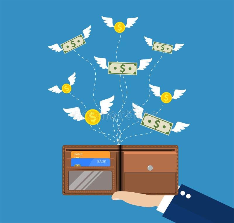 Dollar och mynt med att flyga för vingar vektor illustrationer