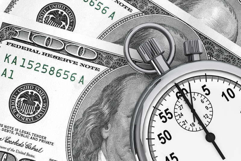 Dollar och Stopwatch stock illustrationer