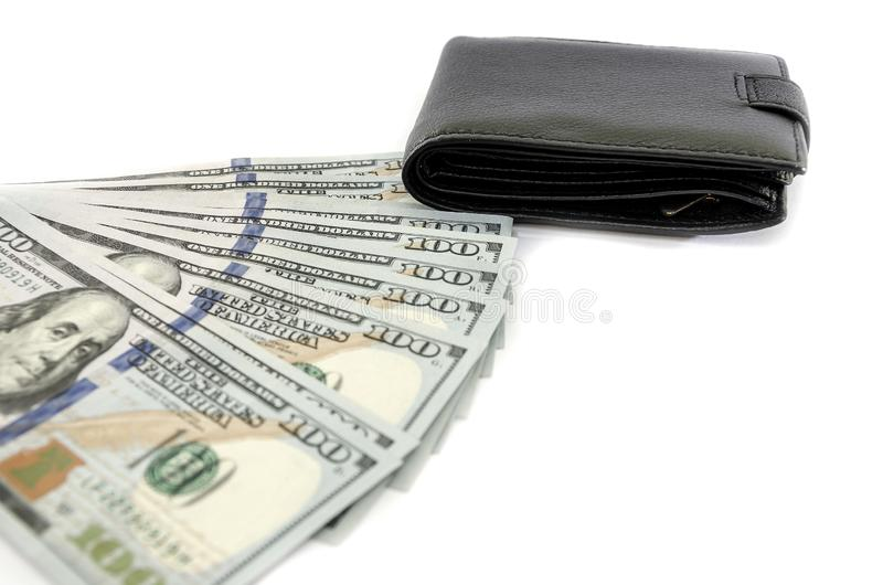Dollar och svart plånbok som isoleras på vit bakgrund royaltyfri bild