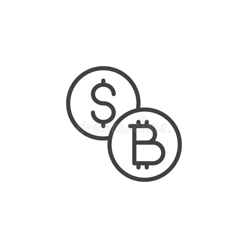Dollar och symbol för bitcoinmyntöversikt vektor illustrationer