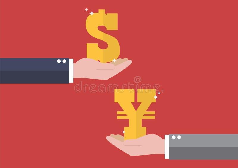 Dollar och yen för valutautbyte stock illustrationer