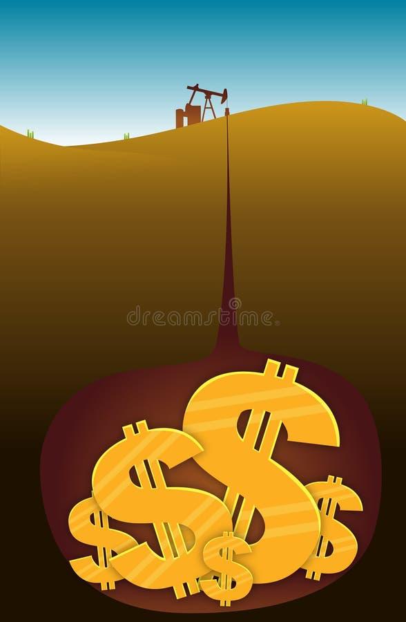 dollar olja stock illustrationer