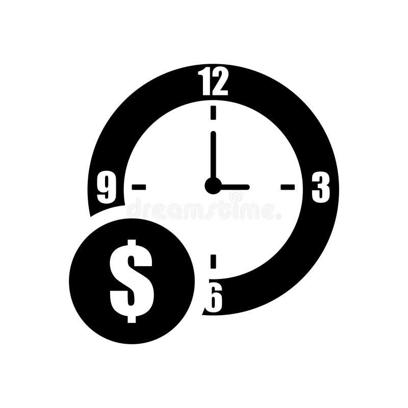 Dollar op het vectorteken van het bedrijfstijdpictogram en symbool dat op witte achtergrond, Dollar op het concept van het bedrij vector illustratie