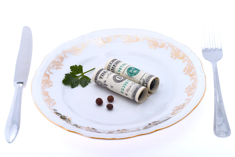 Dollar op plaat stock fotografie