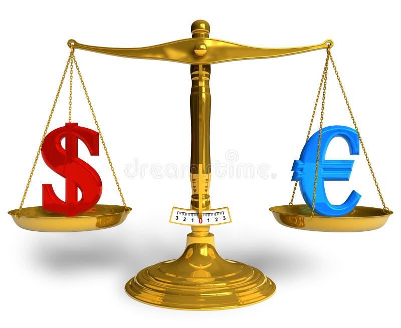 Dollar ou euro ? illustration stock