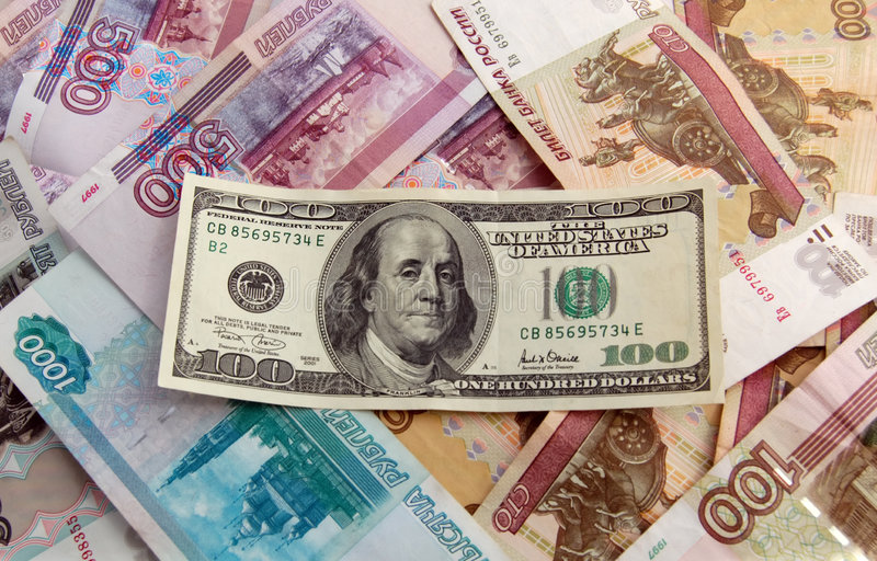 Dollar over foreign money royalty free stock image