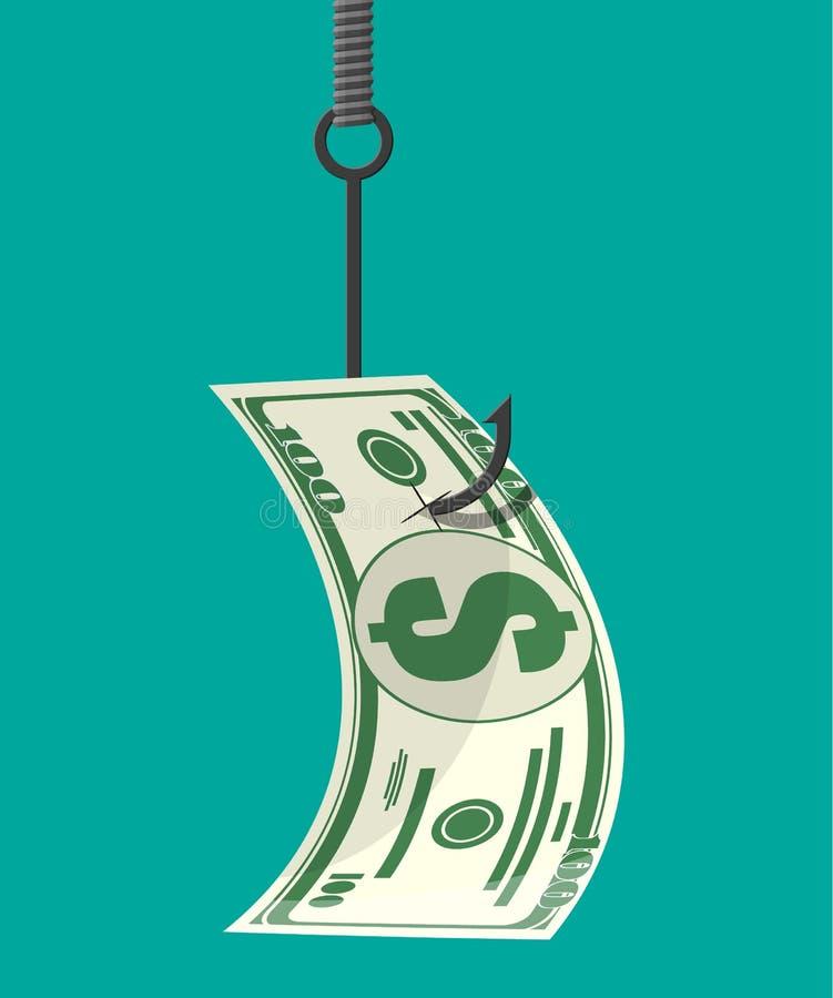 Dollar på fiskekroken Pengarfällabegrepp stock illustrationer