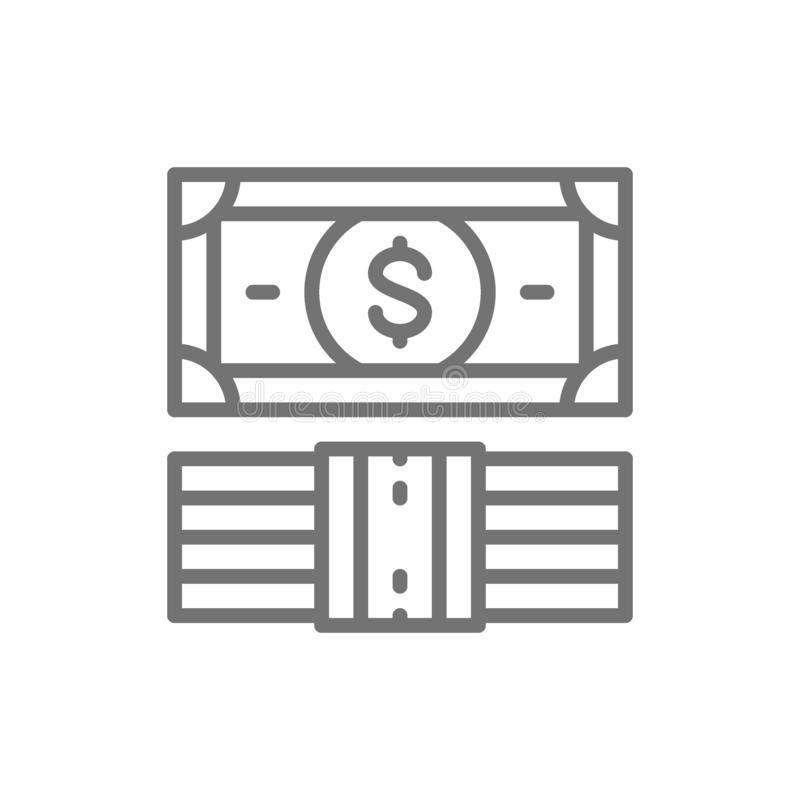 Dollar packe av pengar, sedlar fodrar symbolen vektor illustrationer