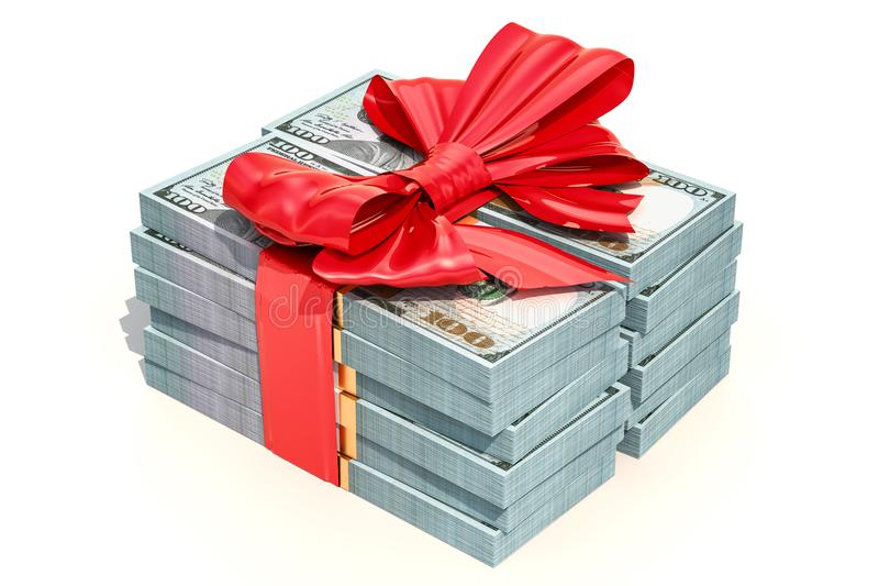 Dollar packs with red bow, gift concept. 3D rendering stock illustration