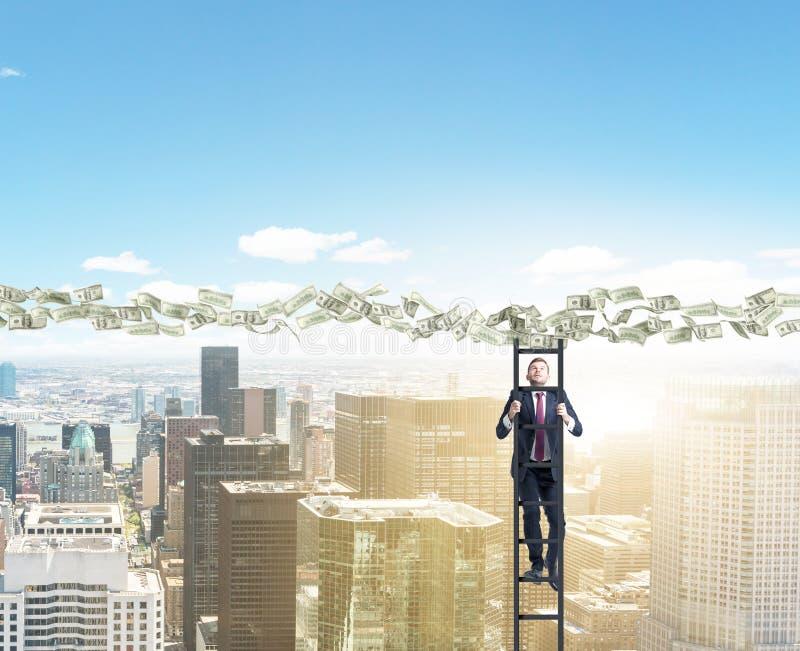 Dollar path man on ladder royalty free stock photos