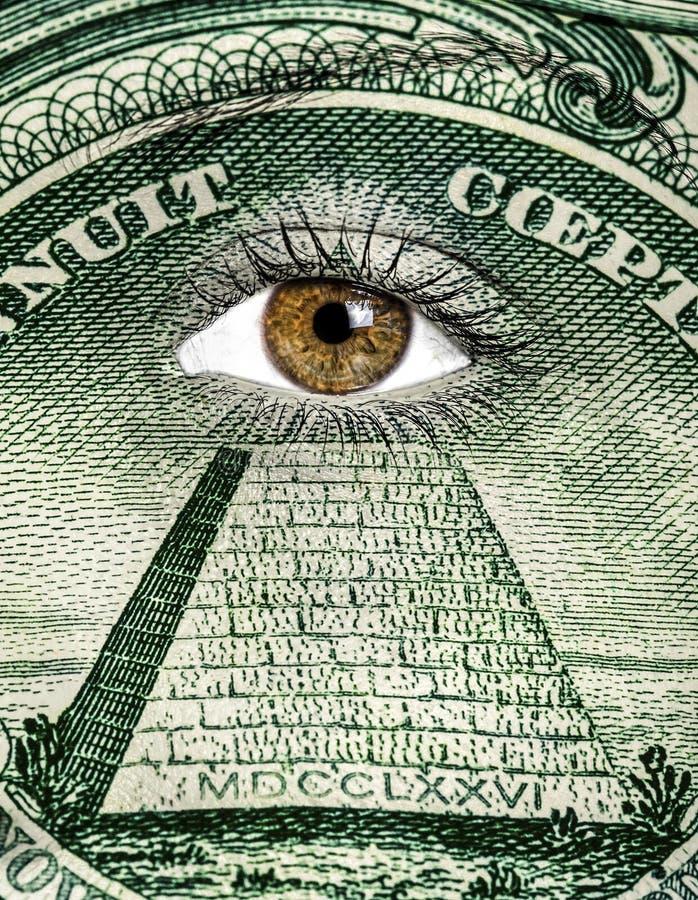 Dollar peint sur le visage images stock