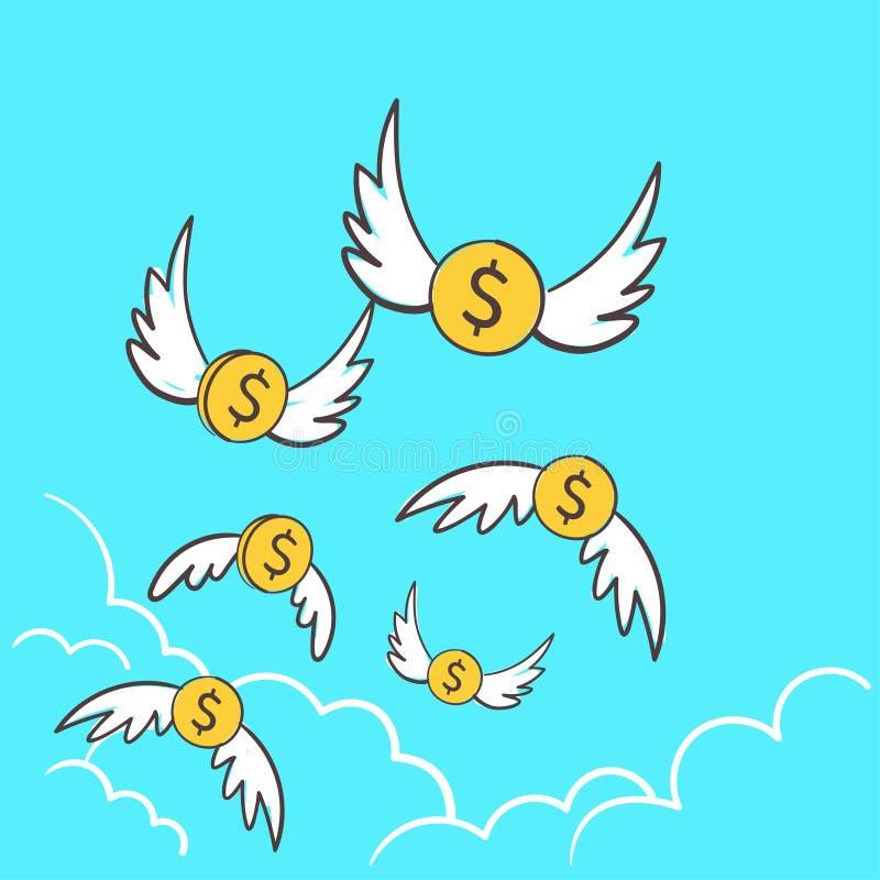 Dollar pengarmynt med att flyga f?r vingar som ?r bort till himlen En ge ut f?r mycket illustrationid? f?r att f?rlora pengar, ko stock illustrationer
