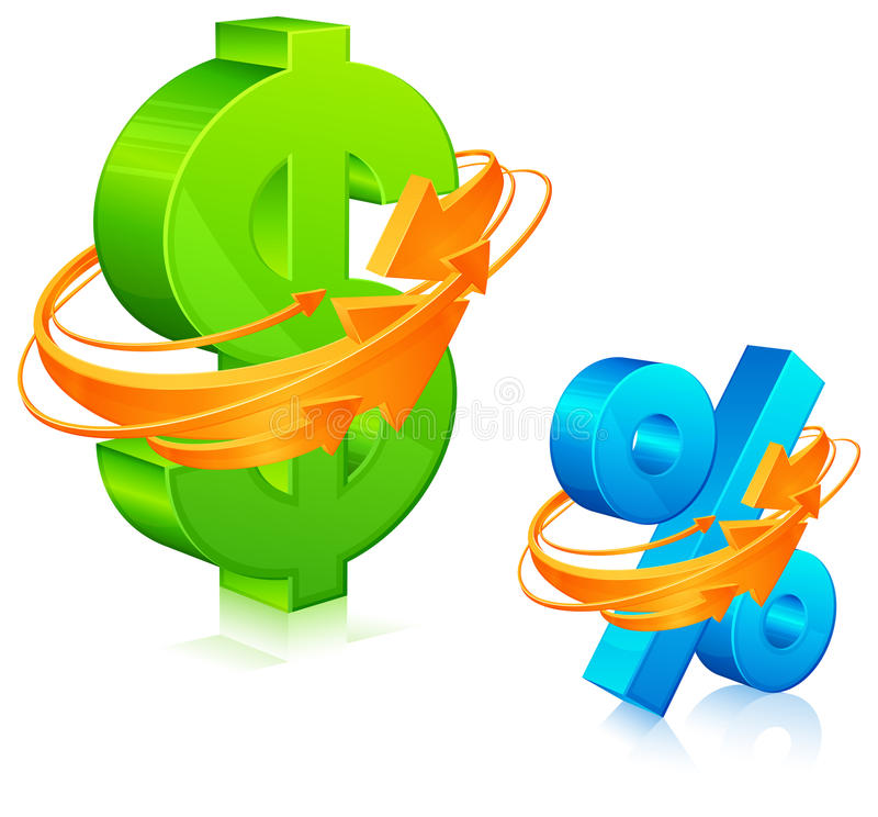 Download Dollar And Percent With Arrows Stock Vector - Image: 23670974
